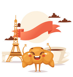 croissant and coffee traditional french breakfast vector image