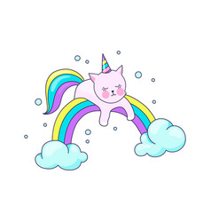 cute cat unicorn pretty pet recreation on cloud vector image