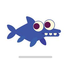 Cute ichthyosaur swimming dinosaur life vector