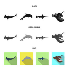 Design of sea and animal icon collection vector