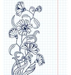doodle floral sketchy frame vector image