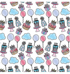 Doodle happy birthday party decoration background vector