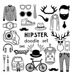 Doodle set with different hipster style vector