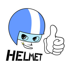 draw of face with helmet protection vector image