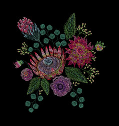 Embroidered composition with wild and garden vector
