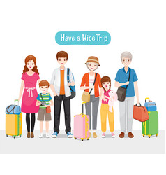 Family with luggages standing for travel together vector
