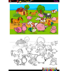 Farm animals characters group coloring book vector
