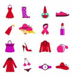 fashion woman icons vector image