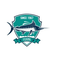 Fishing sport heraldic badge with blue marlin fish vector