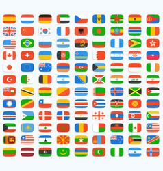 flag world icons set vector image