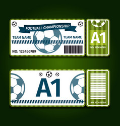 football soccer ticket card design vector image