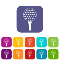 Golf ball on a tee icons set flat vector