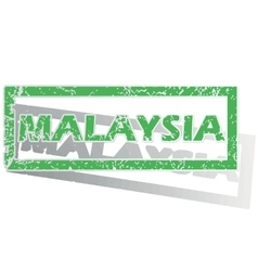 Green outlined Malaysia stamp vector