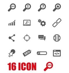 grey seo icon set vector image