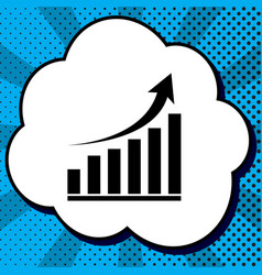 growing graph sign black icon in bubble vector image