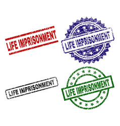 Grunge textured life imprisonment seal stamps vector