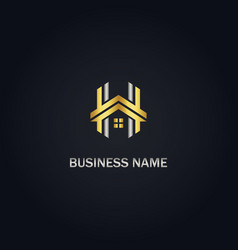 h initial house realty gold logo vector image