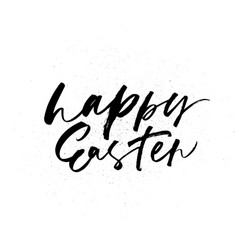 happy easter phrase hand drawn modern calligraphy vector image