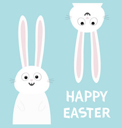 happy easter white bunny rabbit set funny head vector image