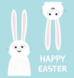 Happy easter white bunny rabbit set funny head vector