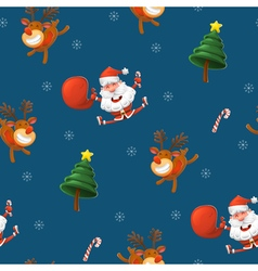 happy Santa Claus reindeer and a rooster vector image