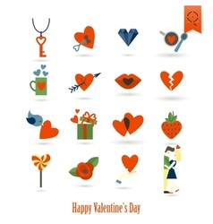 Happy Valentines Day Icons vector image