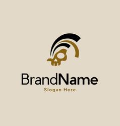 Head skull spartan history logo vector