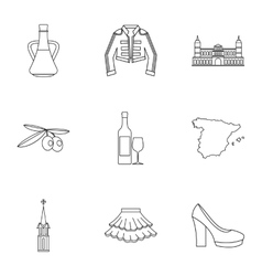 Holiday in Spain icons set outline style vector