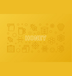 honey yellow outline banner horizontal vector image