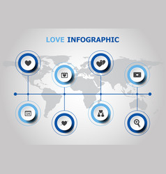 Infographic design with love icons vector