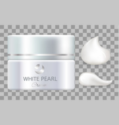 Jar of day cream white pearl for everyday skincare vector