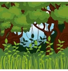 Jungle landscape background isolated icon design vector
