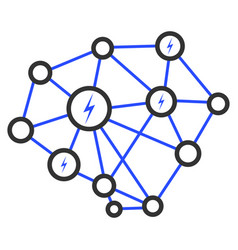 Lightning network flat icon vector