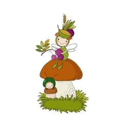 Little cartoon fairy sitting on a mushroom vector