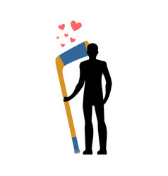 lover hockey man and hockey stick love sport game vector image