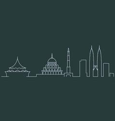 malaysia simple line skyline and landmark vector image