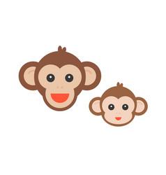 Monkey face set vector