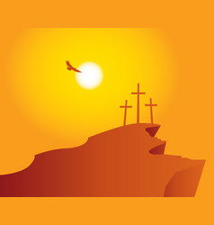 mountain calvary with crosses with sky and sun vector image