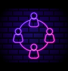 neon light group line icon users or teamwork sign vector image