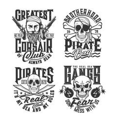 Pirates and corsairs gangs t-shirt grunge prints vector