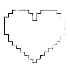 pixelated heart love romantic icon vector image