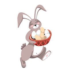 rabbit or bunny with eggs easter holiday isolated vector image