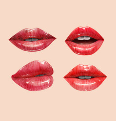 Red lips set vector