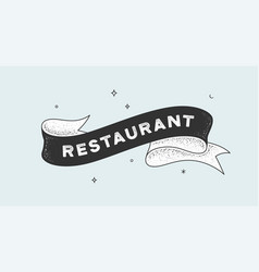 restaurant vintage ribbon vector image