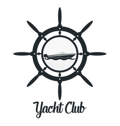 Retro styled badge with yacht vector