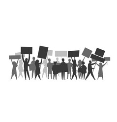 revolution crowd silhouette protest flags vector image