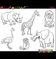 Safari cartoon animal characters coloring book vector