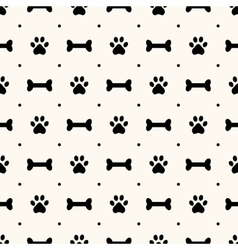 Seamless animal pattern paw footprint and bone vector