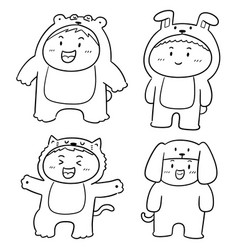 Set of kids wearing animal suits vector