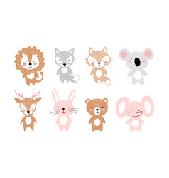 Set simple cute animals for invitation party vector